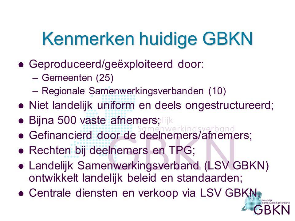 Kenmerken huidige GBKN l Geproduceerd/geëxploiteerd door: –Gemeenten (25) –Regionale Samenwerkingsverbanden (10) l Niet landelijk uniform en deels ongestructureerd; l Bijna 500 vaste afnemers; l Gefinancierd door de deelnemers/afnemers; l Rechten bij deelnemers en TPG; l Landelijk Samenwerkingsverband (LSV GBKN) ontwikkelt landelijk beleid en standaarden; l Centrale diensten en verkoop via LSV GBKN.