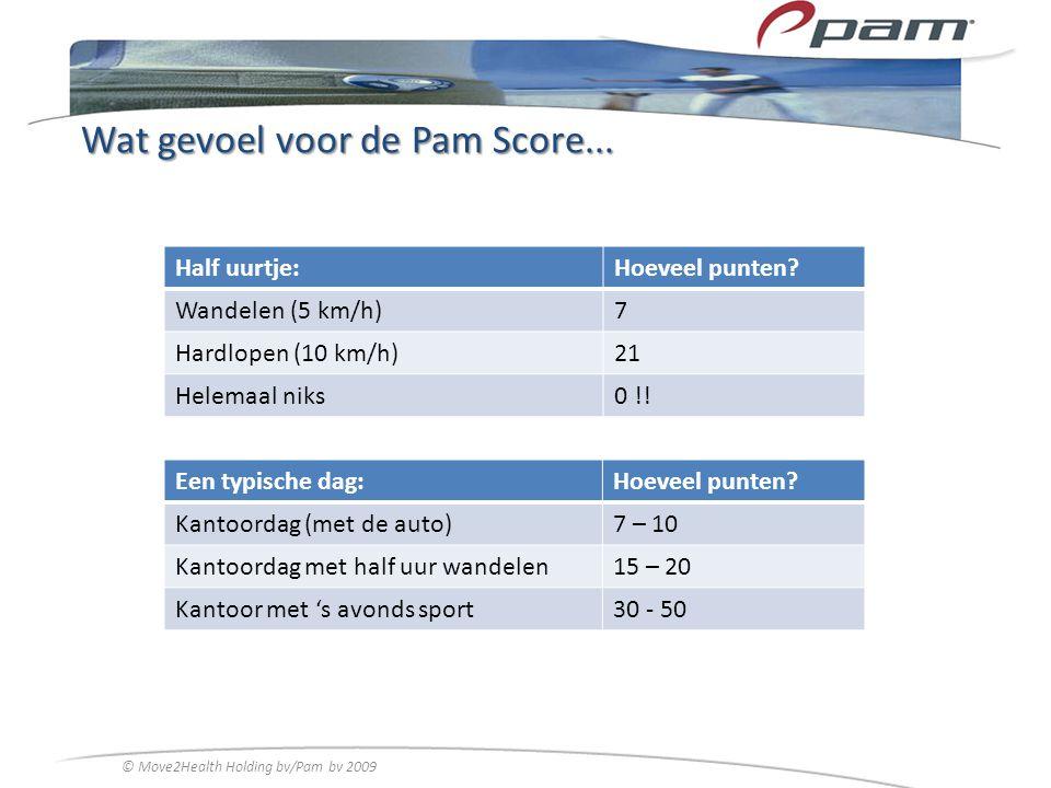 Wat gevoel voor de Pam Score... Half uurtje:Hoeveel punten? Wandelen (5 km/h)7 Hardlopen (10 km/h)21 Helemaal niks0 !! Een typische dag:Hoeveel punten