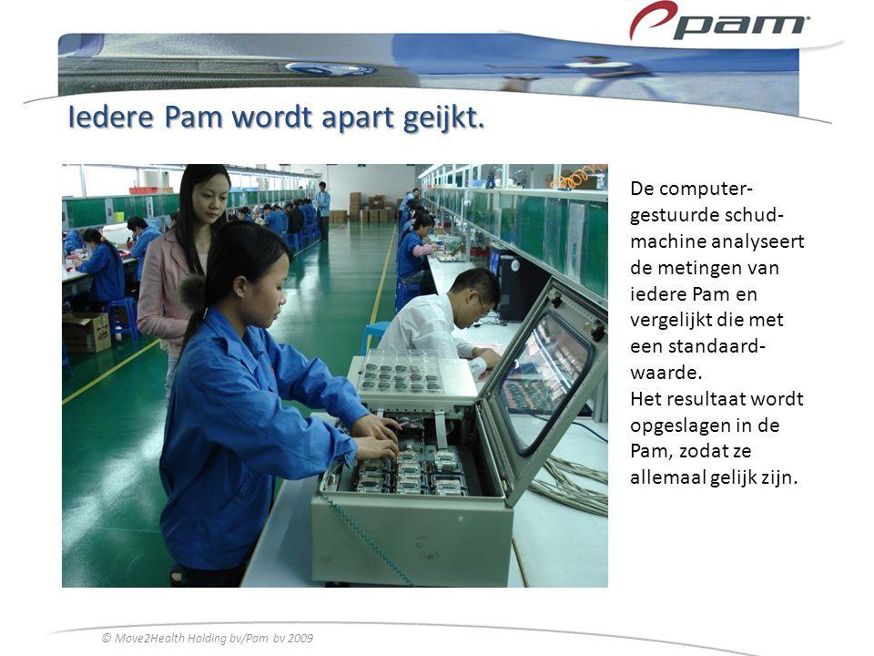 Iedere Pam wordt apart geijkt. De computer- gestuurde schud- machine analyseert de metingen van iedere Pam en vergelijkt die met een standaard- waarde