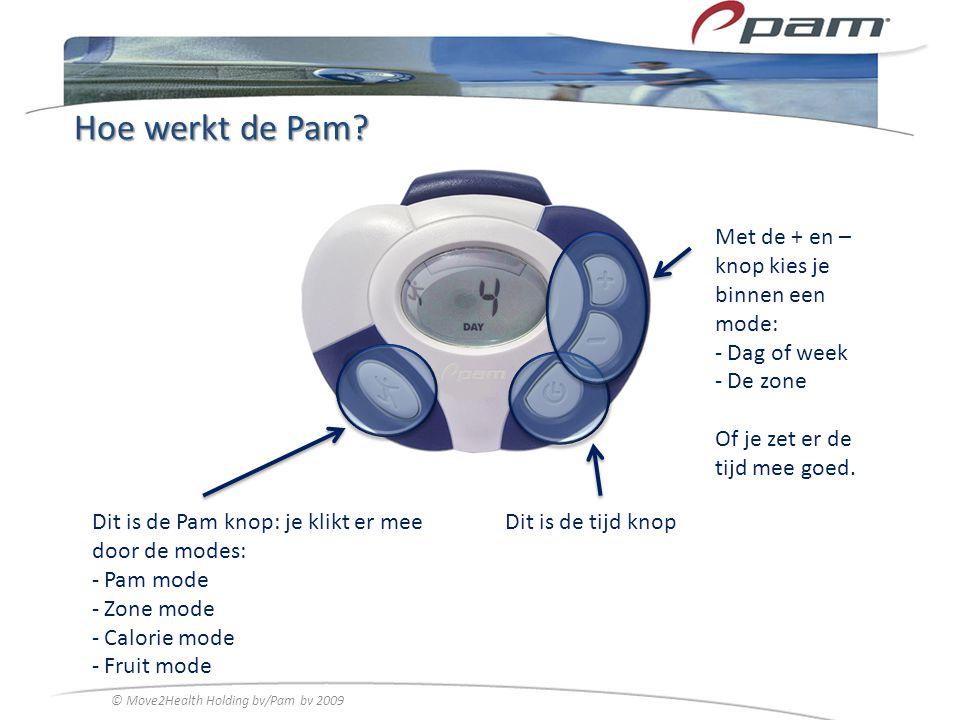 Hoe werkt de Pam? Dit is de Pam knop: je klikt er mee door de modes: - Pam mode - Zone mode - Calorie mode - Fruit mode Dit is de tijd knop Met de + e