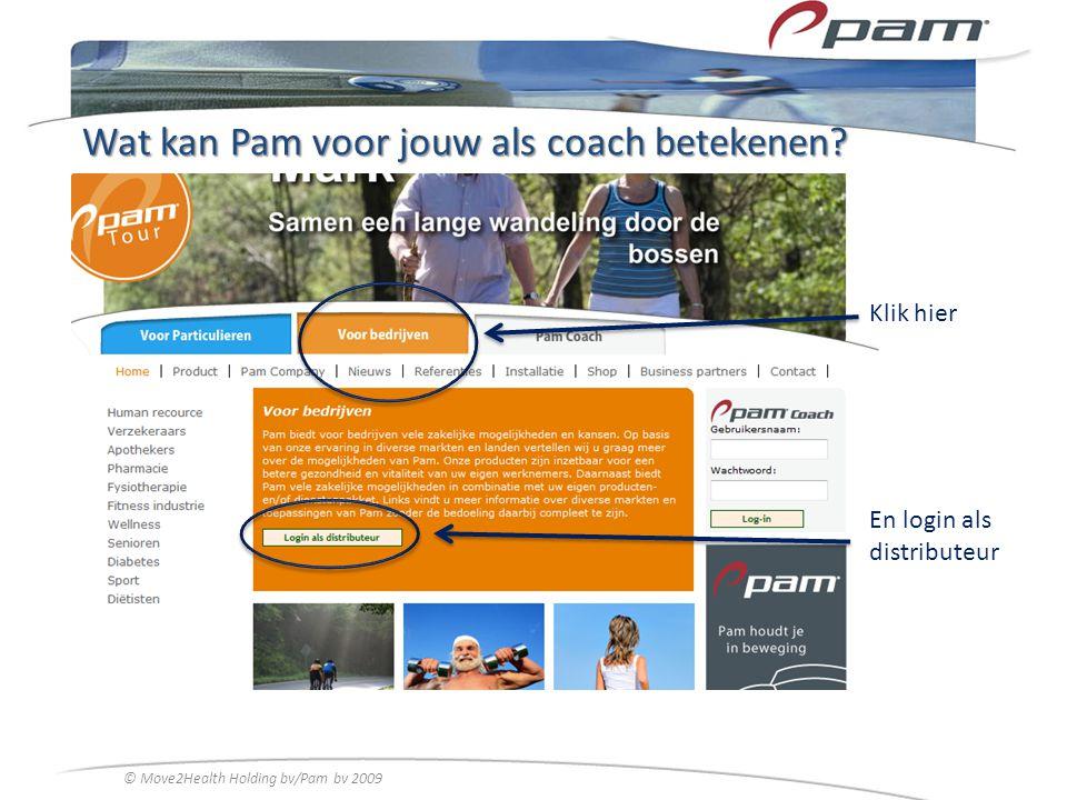 Wat kan Pam voor jouw als coach betekenen? Klik hier En login als distributeur © Move2Health Holding bv/Pam bv 2009
