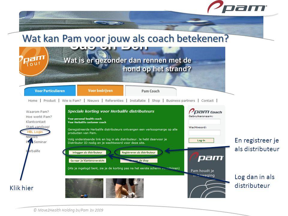 Wat kan Pam voor jouw als coach betekenen? Klik hier En registreer je als distributeur © Move2Health Holding bv/Pam bv 2009 Log dan in als distributeu