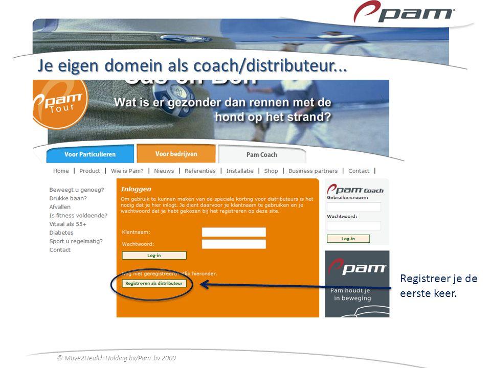 Je eigen domein als coach/distributeur... Registreer je de eerste keer. © Move2Health Holding bv/Pam bv 2009