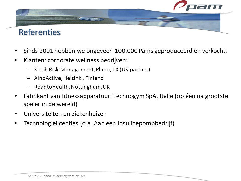 Referenties Sinds 2001 hebben we ongeveer 100,000 Pams geproduceerd en verkocht. Klanten: corporate wellness bedrijven: – Kersh Risk Management, Plano