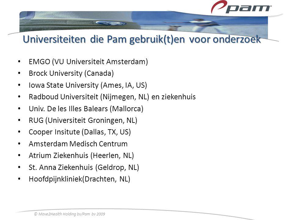Universiteiten die Pam gebruik(t)en voor onderzoek EMGO (VU Universiteit Amsterdam) Brock University (Canada) Iowa State University (Ames, IA, US) Rad