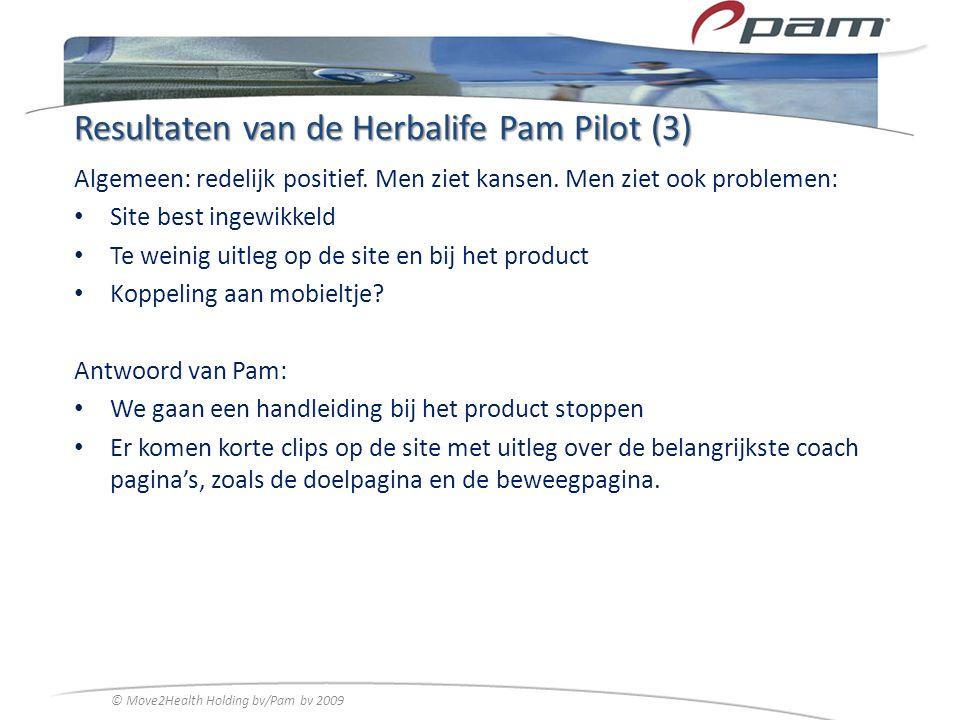 Resultaten van de Herbalife Pam Pilot (3) Algemeen: redelijk positief. Men ziet kansen. Men ziet ook problemen: Site best ingewikkeld Te weinig uitleg