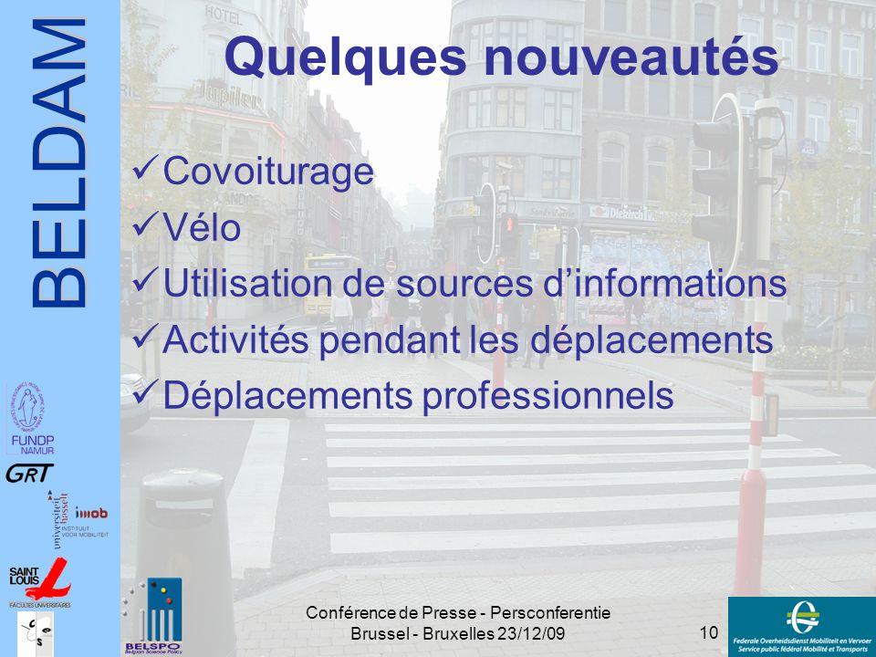 BELDAM 10 Conférence de Presse - Persconferentie Brussel - Bruxelles 23/12/09 Quelques nouveautés Covoiturage Vélo Utilisation de sources d'informatio