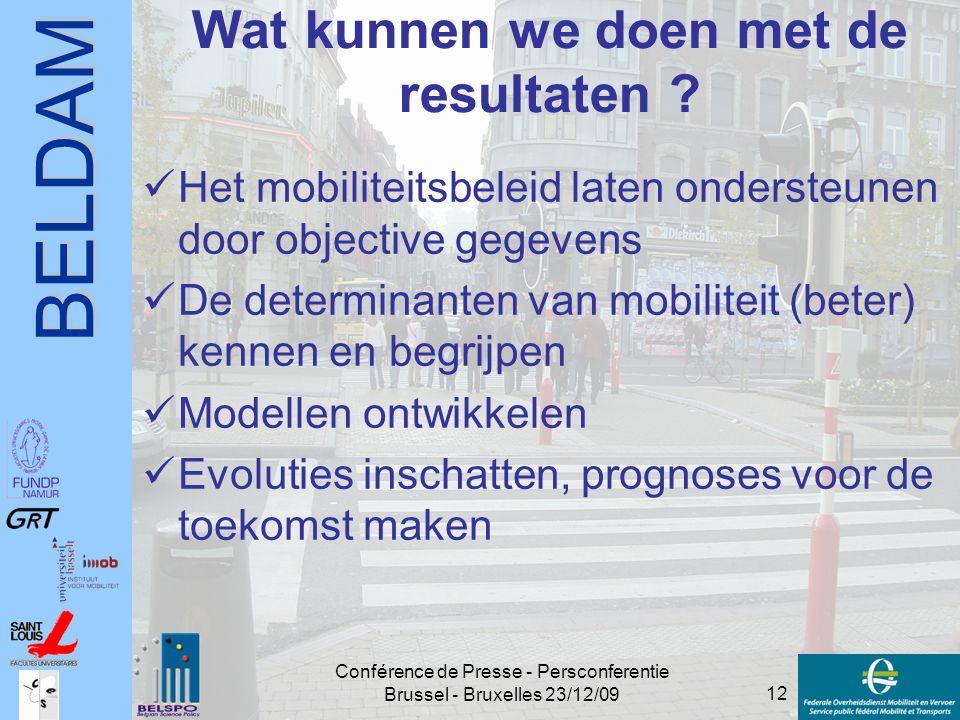 BELDAM 12 Conférence de Presse - Persconferentie Brussel - Bruxelles 23/12/09 Wat kunnen we doen met de resultaten ? Het mobiliteitsbeleid laten onder