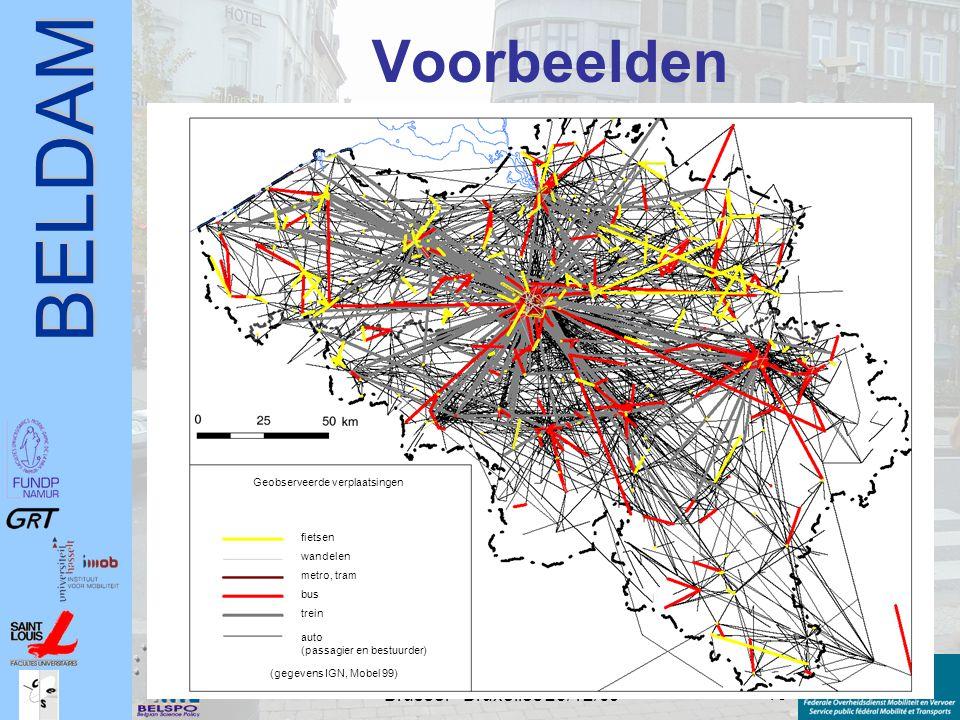 BELDAM 13 Conférence de Presse - Persconferentie Brussel - Bruxelles 23/12/09 Voorbeelden Geobserveerde verplaatsingen fietsen wandelen metro, tram bu