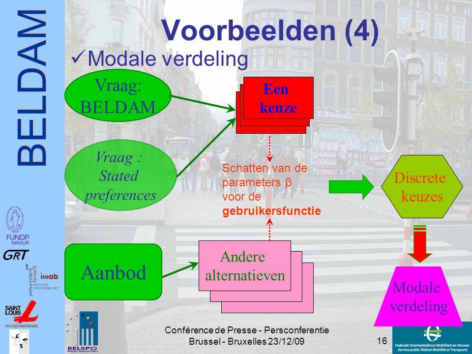 BELDAM 16 Conférence de Presse - Persconferentie Brussel - Bruxelles 23/12/09 Voorbeelden (4) Modale verdeling Vraag: BELDAM Vraag : Stated preference
