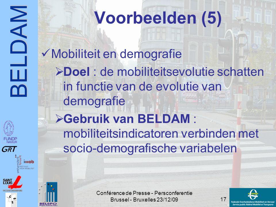 BELDAM 17 Conférence de Presse - Persconferentie Brussel - Bruxelles 23/12/09 Voorbeelden (5) Mobiliteit en demografie  Doel : de mobiliteitsevolutie
