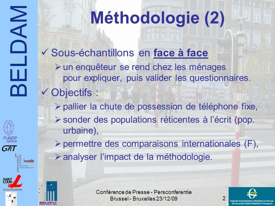 BELDAM 2 Conférence de Presse - Persconferentie Brussel - Bruxelles 23/12/09 Méthodologie (2) Sous-échantillons en face à face  un enquêteur se rend