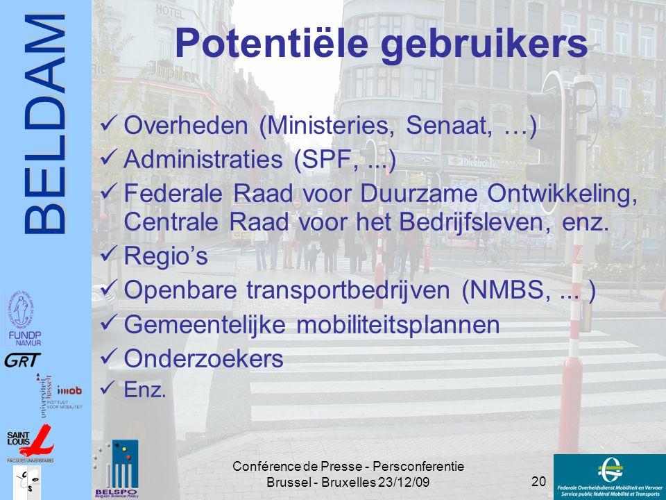 BELDAM 20 Conférence de Presse - Persconferentie Brussel - Bruxelles 23/12/09 Potentiële gebruikers Overheden (Ministeries, Senaat, …) Administraties