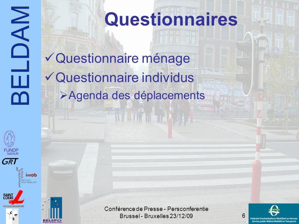 BELDAM 6 Conférence de Presse - Persconferentie Brussel - Bruxelles 23/12/09 Questionnaires Questionnaire ménage Questionnaire individus  Agenda des