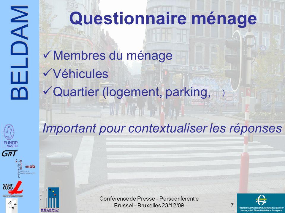 BELDAM 7 Conférence de Presse - Persconferentie Brussel - Bruxelles 23/12/09 Questionnaire ménage Membres du ménage Véhicules Quartier (logement, park