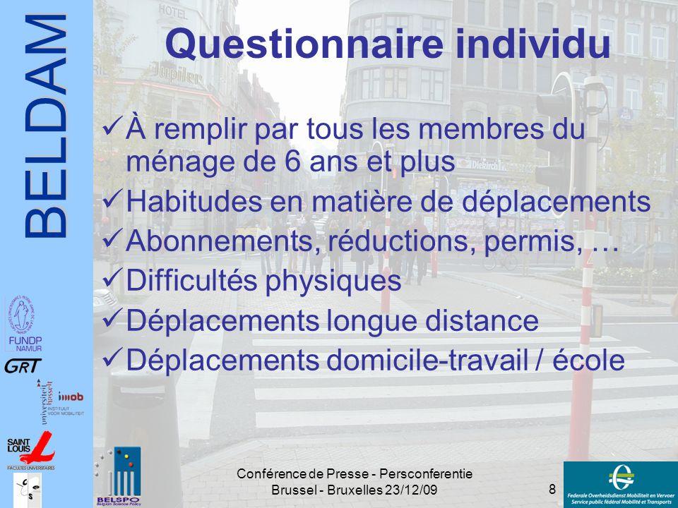 BELDAM 8 Conférence de Presse - Persconferentie Brussel - Bruxelles 23/12/09 Questionnaire individu À remplir par tous les membres du ménage de 6 ans