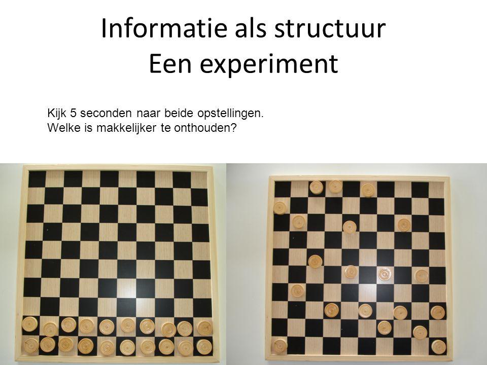 Informatie als structuur Een experiment Kijk 5 seconden naar beide opstellingen.