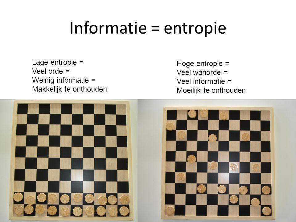 Informatie = entropie Hoge entropie = Veel wanorde = Veel informatie = Moeilijk te onthouden Lage entropie = Veel orde = Weinig informatie = Makkelijk te onthouden