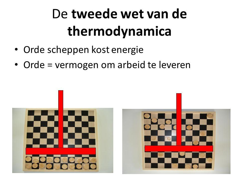 De tweede wet van de thermodynamica Orde scheppen kost energie Orde = vermogen om arbeid te leveren