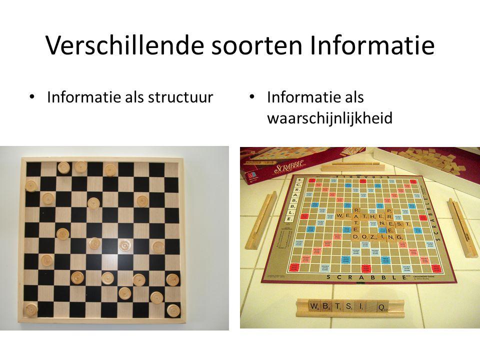 Verschillende soorten Informatie Informatie als structuur Informatie als waarschijnlijkheid