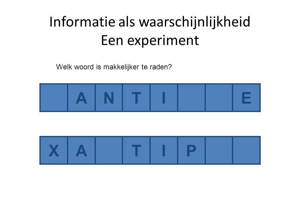 ANTIE XATIP Welk woord is makkelijker te raden Informatie als waarschijnlijkheid Een experiment