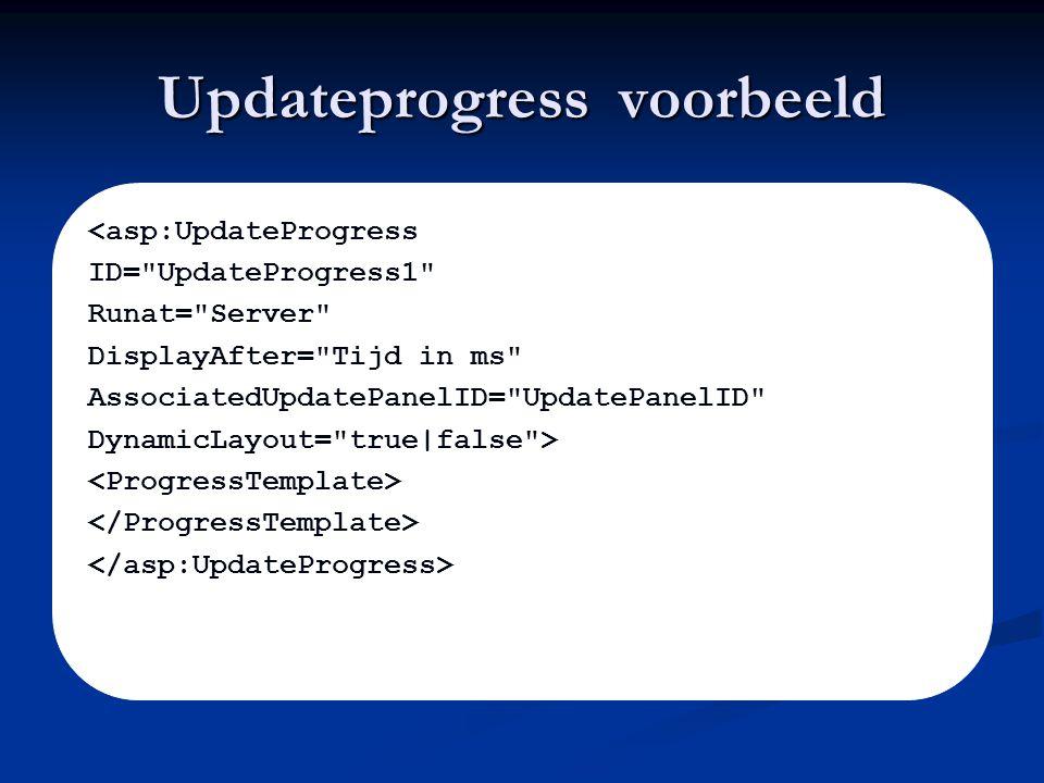 Updateprogress voorbeeld <asp:UpdateProgress ID= UpdateProgress1 Runat= Server DisplayAfter= Tijd in ms AssociatedUpdatePanelID= UpdatePanelID DynamicLayout= true|false >