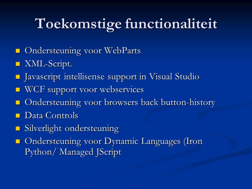 Toekomstige functionaliteit Ondersteuning voor WebParts Ondersteuning voor WebParts XML-Script. XML-Script. Javascript intellisense support in Visual
