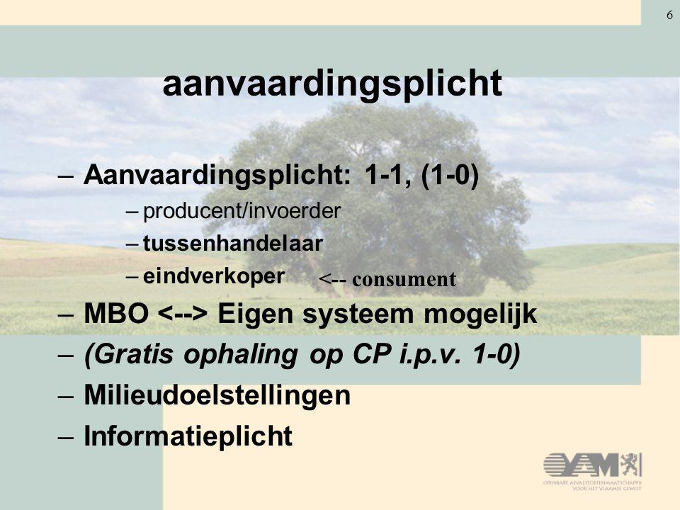6 aanvaardingsplicht –Aanvaardingsplicht: 1-1, (1-0) –producent/invoerder –tussenhandelaar –eindverkoper –MBO Eigen systeem mogelijk –(Gratis ophaling