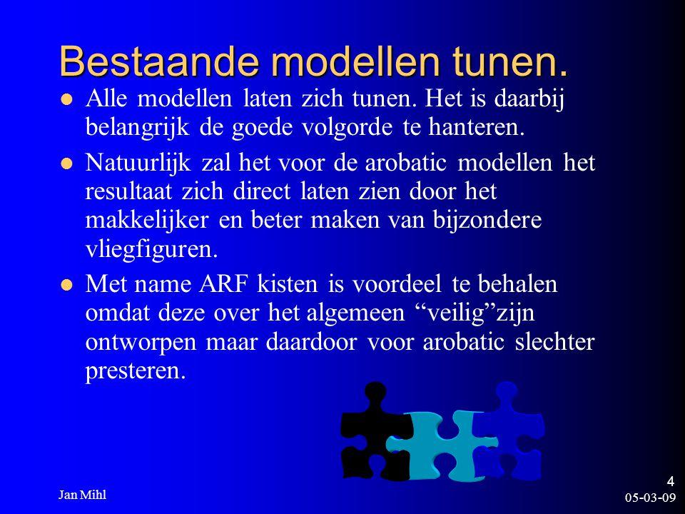 05-03-09 Jan Mihl 4 Bestaande modellen tunen. Alle modellen laten zich tunen. Het is daarbij belangrijk de goede volgorde te hanteren. Natuurlijk zal