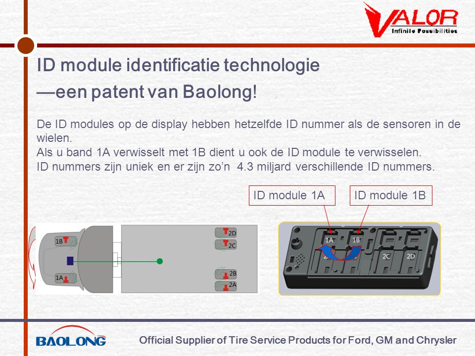 Official Supplier of Tire Service Products for Ford, GM and Chrysler ID module identificatie technologie —een patent van Baolong.