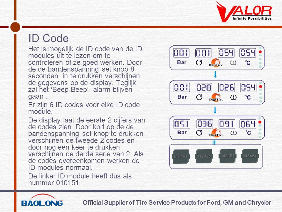 Official Supplier of Tire Service Products for Ford, GM and Chrysler ID Code Het is mogelijk de ID code van de ID modules uit te lezen om te controleren of ze goed werken.