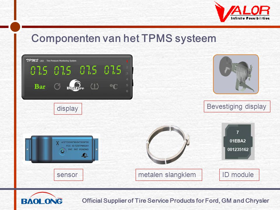 Official Supplier of Tire Service Products for Ford, GM and Chrysler Het principe van bandenidentificatie d.m.v.