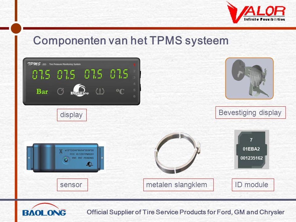 Official Supplier of Tire Service Products for Ford, GM and Chrysler Normale gegevens Door op de k euzeknop bandenspanning of temperatuur te drukken kiest u tussen temperatuur en druk van de banden.