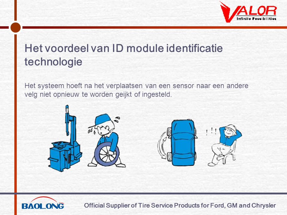 Official Supplier of Tire Service Products for Ford, GM and Chrysler Het voordeel van ID module identificatie technologie Het systeem hoeft na het ver