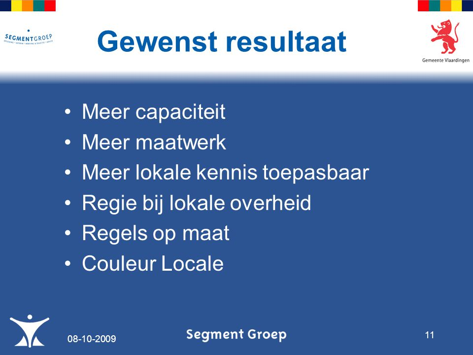 Meer capaciteit Meer maatwerk Meer lokale kennis toepasbaar Regie bij lokale overheid Regels op maat Couleur Locale Gewenst resultaat 08-10-2009 11