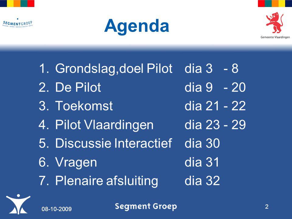 Agenda 1.Grondslag,doel Pilotdia 3 - 8 2.De Pilotdia 9 - 20 3.Toekomstdia 21 - 22 4.Pilot Vlaardingendia 23 - 29 5.Discussie Interactiefdia 30 6.Vragendia 31 7.Plenaire afsluitingdia 32 08-10-2009 2
