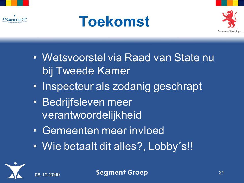 Wetsvoorstel via Raad van State nu bij Tweede Kamer Inspecteur als zodanig geschrapt Bedrijfsleven meer verantwoordelijkheid Gemeenten meer invloed Wie betaalt dit alles , Lobby´s!.
