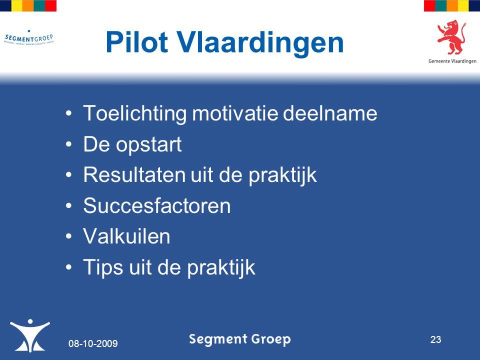 Toelichting motivatie deelname De opstart Resultaten uit de praktijk Succesfactoren Valkuilen Tips uit de praktijk Pilot Vlaardingen 08-10-2009 23