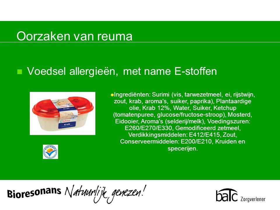 Oorzaken van reuma Ingrediënten: Surimi (vis, tarwezetmeel, ei, rijstwijn, zout, krab, aroma s, suiker, paprika), Plantaardige olie, Krab 12%, Water, Suiker, Ketchup (tomatenpuree, glucose/fructose-stroop), Mosterd, Eidooier, Aroma s (selderij/melk), Voedingszuren: E260/E270/E330, Gemodificeerd zetmeel, Verdikkingsmiddelen: E412/E415, Zout, Conserveermiddelen: E200/E210, Kruiden en specerijen.