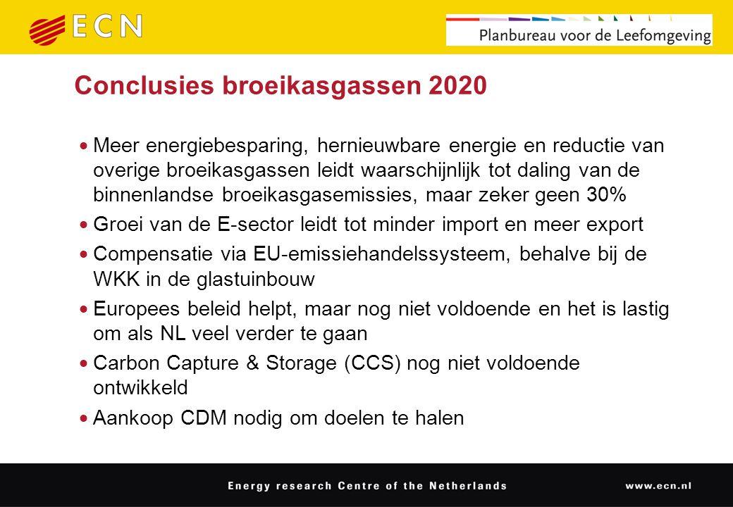 Conclusies broeikasgassen 2020  Meer energiebesparing, hernieuwbare energie en reductie van overige broeikasgassen leidt waarschijnlijk tot daling van de binnenlandse broeikasgasemissies, maar zeker geen 30%  Groei van de E-sector leidt tot minder import en meer export  Compensatie via EU-emissiehandelssysteem, behalve bij de WKK in de glastuinbouw  Europees beleid helpt, maar nog niet voldoende en het is lastig om als NL veel verder te gaan  Carbon Capture & Storage (CCS) nog niet voldoende ontwikkeld  Aankoop CDM nodig om doelen te halen