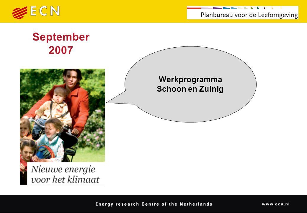 September 2007 Werkprogramma Schoon en Zuinig