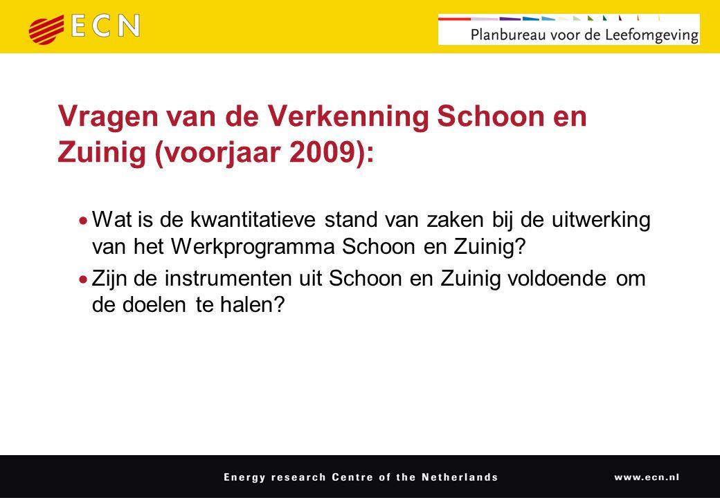Vragen van de Verkenning Schoon en Zuinig (voorjaar 2009):  Wat is de kwantitatieve stand van zaken bij de uitwerking van het Werkprogramma Schoon en Zuinig.