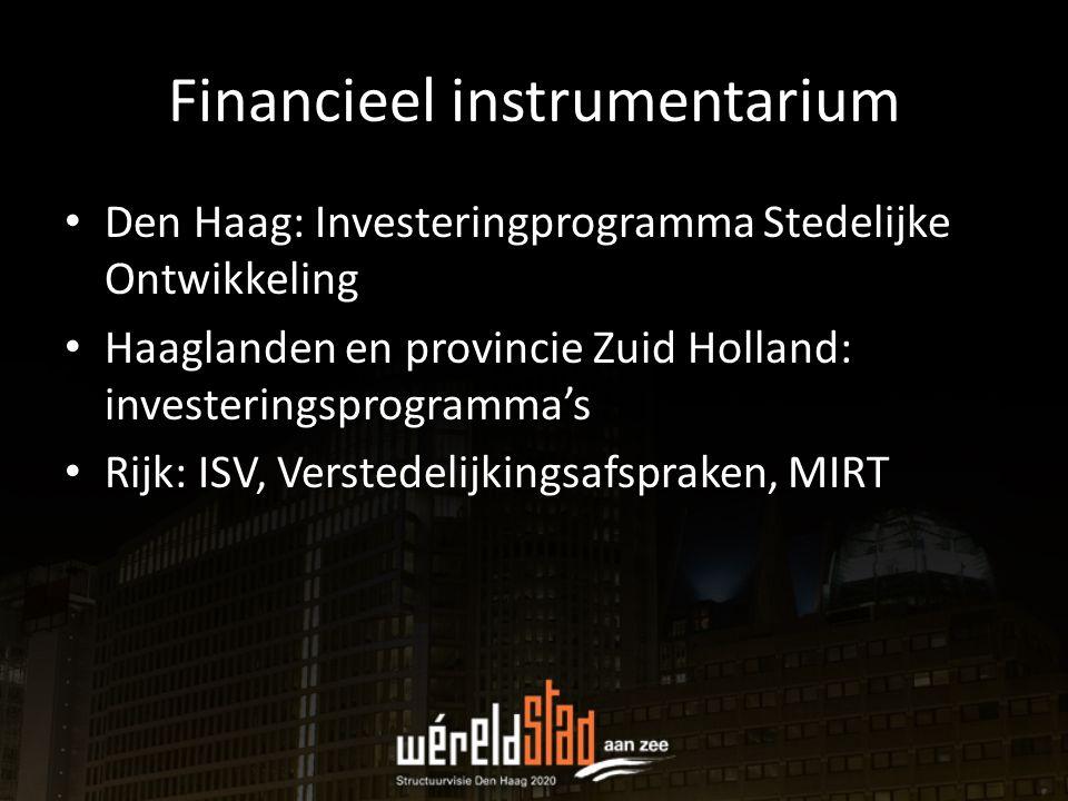 Financieel instrumentarium Den Haag: Investeringprogramma Stedelijke Ontwikkeling Haaglanden en provincie Zuid Holland: investeringsprogramma's Rijk: