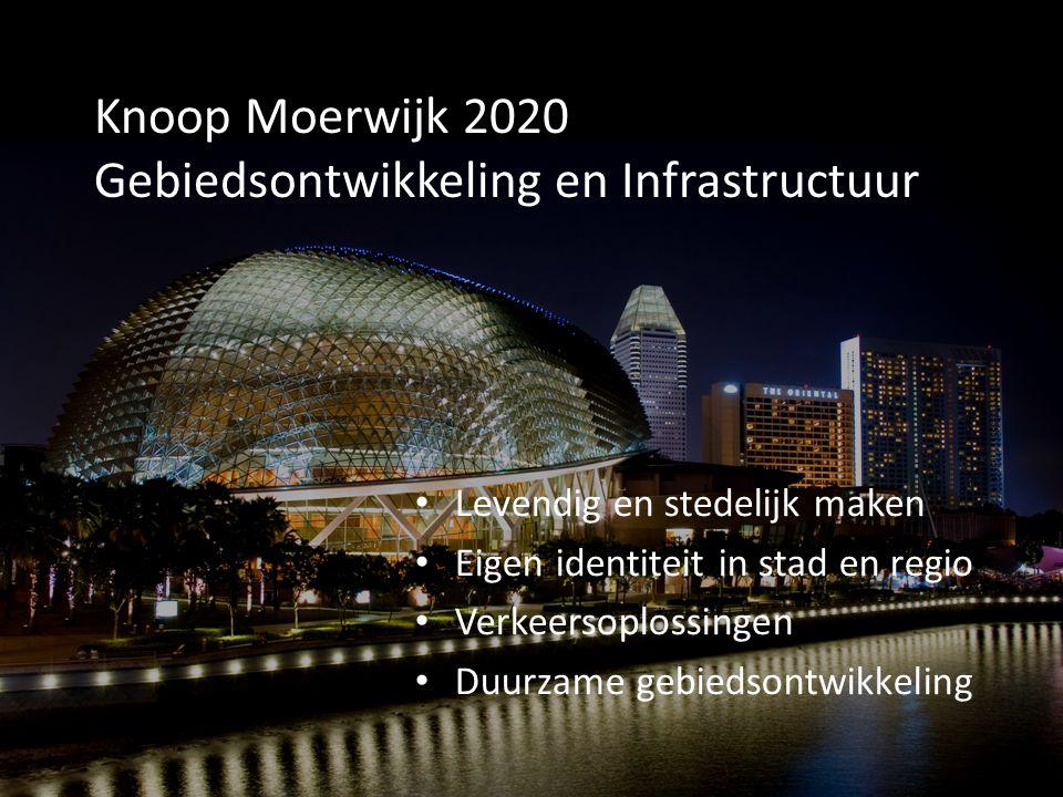 Knoop Moerwijk 2020 Gebiedsontwikkeling en Infrastructuur Levendig en stedelijk maken Eigen identiteit in stad en regio Verkeersoplossingen Duurzame g