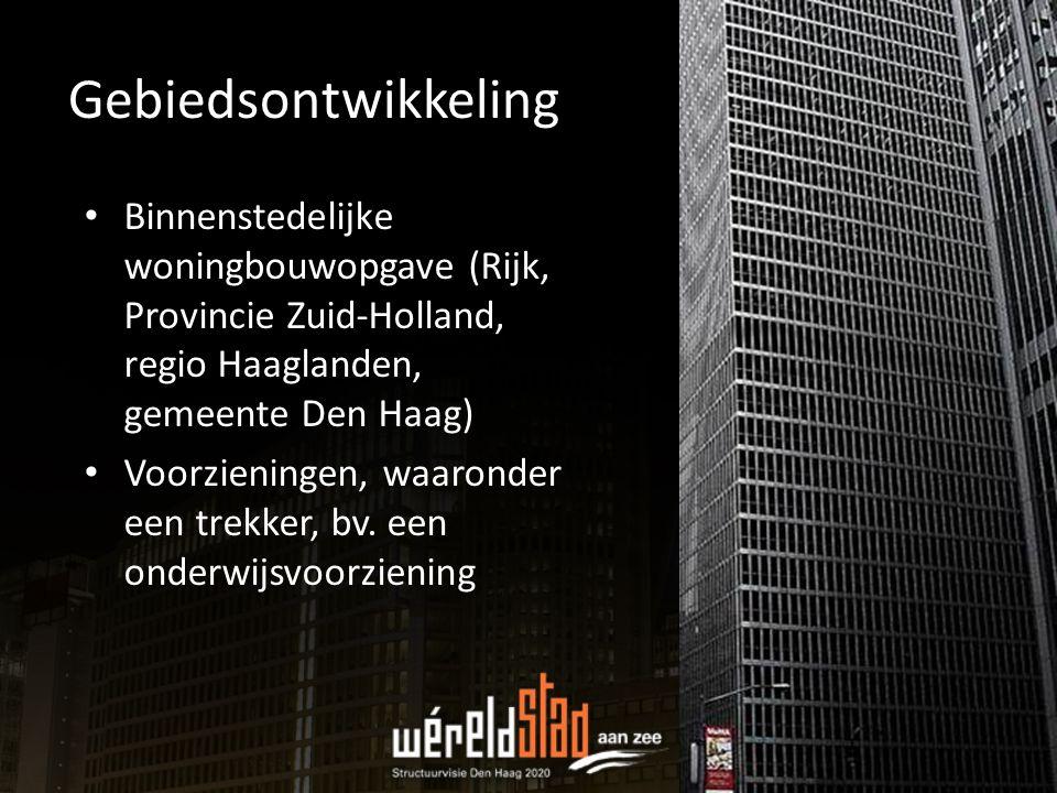 Gebiedsontwikkeling Binnenstedelijke woningbouwopgave (Rijk, Provincie Zuid-Holland, regio Haaglanden, gemeente Den Haag) Voorzieningen, waaronder een