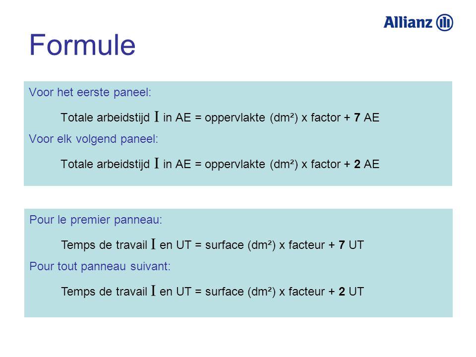 Formule Voor het eerste paneel: Totale arbeidstijd I in AE = oppervlakte (dm²) x factor + 7 AE Voor elk volgend paneel: Totale arbeidstijd I in AE = o