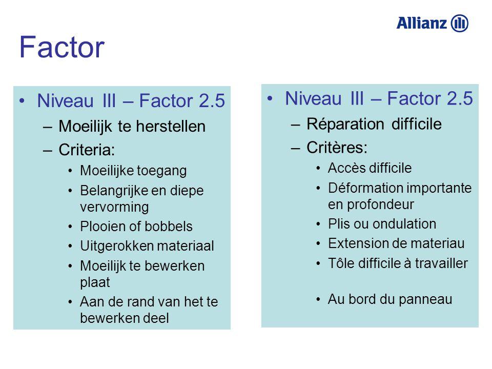 Niveau III – Factor 2.5 –Moeilijk te herstellen –Criteria: Moeilijke toegang Belangrijke en diepe vervorming Plooien of bobbels Uitgerokken materiaal