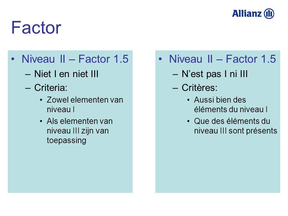 Niveau II – Factor 1.5 –Niet I en niet III –Criteria: Zowel elementen van niveau I Als elementen van niveau III zijn van toepassing Niveau II – Factor