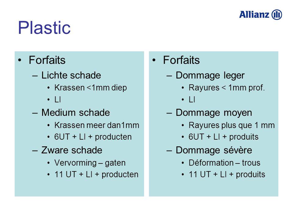 Plastic Forfaits –Lichte schade Krassen <1mm diep LI –Medium schade Krassen meer dan1mm 6UT + LI + producten –Zware schade Vervorming – gaten 11 UT +