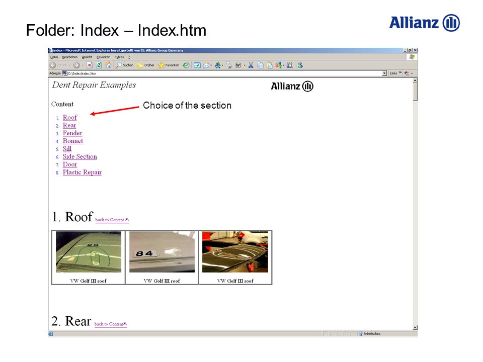 Choice of the section Folder: Index – Index.htm